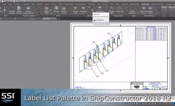 Label List Palette in ShipConstructor 2018 R2